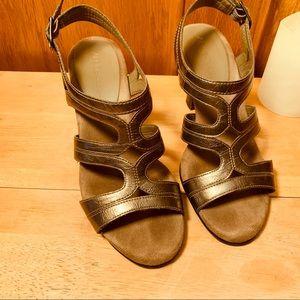 Aerosoles Metallic Pewter Strap Slingback Sandals